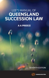 Lee's Manual of QLD Succession Law 7e eBook + Book
