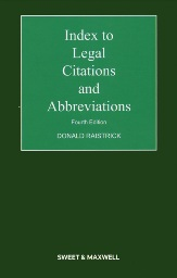 Index to Legal Citations and Abbreviations 4th edition