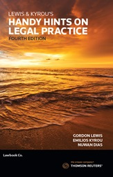 Lewis & Kyrou's Handy Hints on Legal Practice 4th Edition - Book