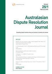Australasian Dispute Resolution Journal: Parts