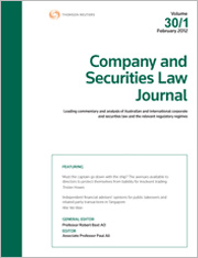 Company and Securities Law Journal: Parts & Bound Volumes