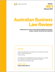 Australian Business Law Review: Parts & Bound Volumes