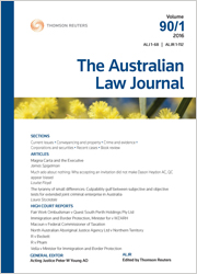 Australian Law Journal and Reports: Online (Journal Only) – Thomson