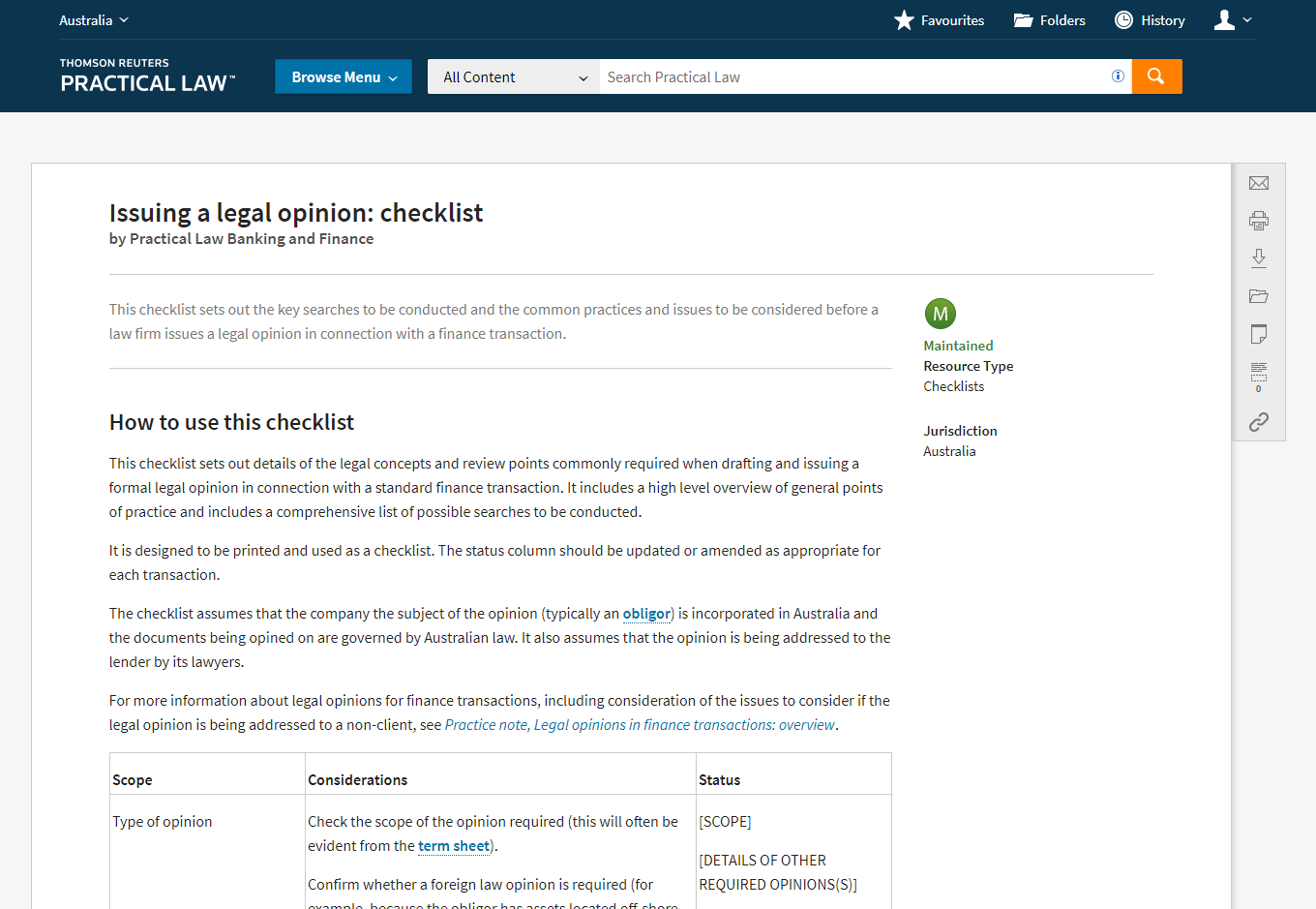 Practical Law - Checklists