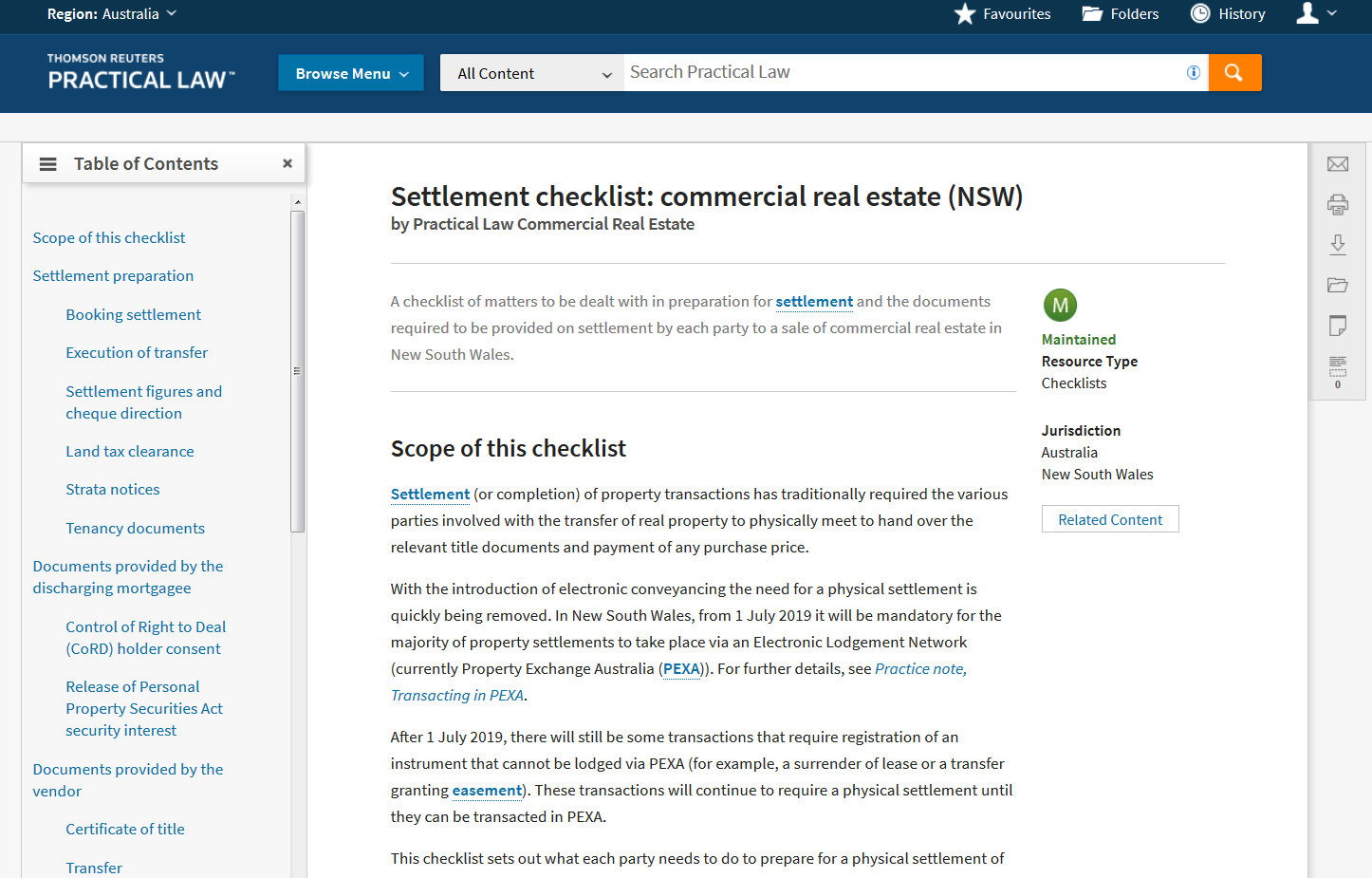 Practical Law - Checklist: Settlement checklist: commercial real estate (NSW)